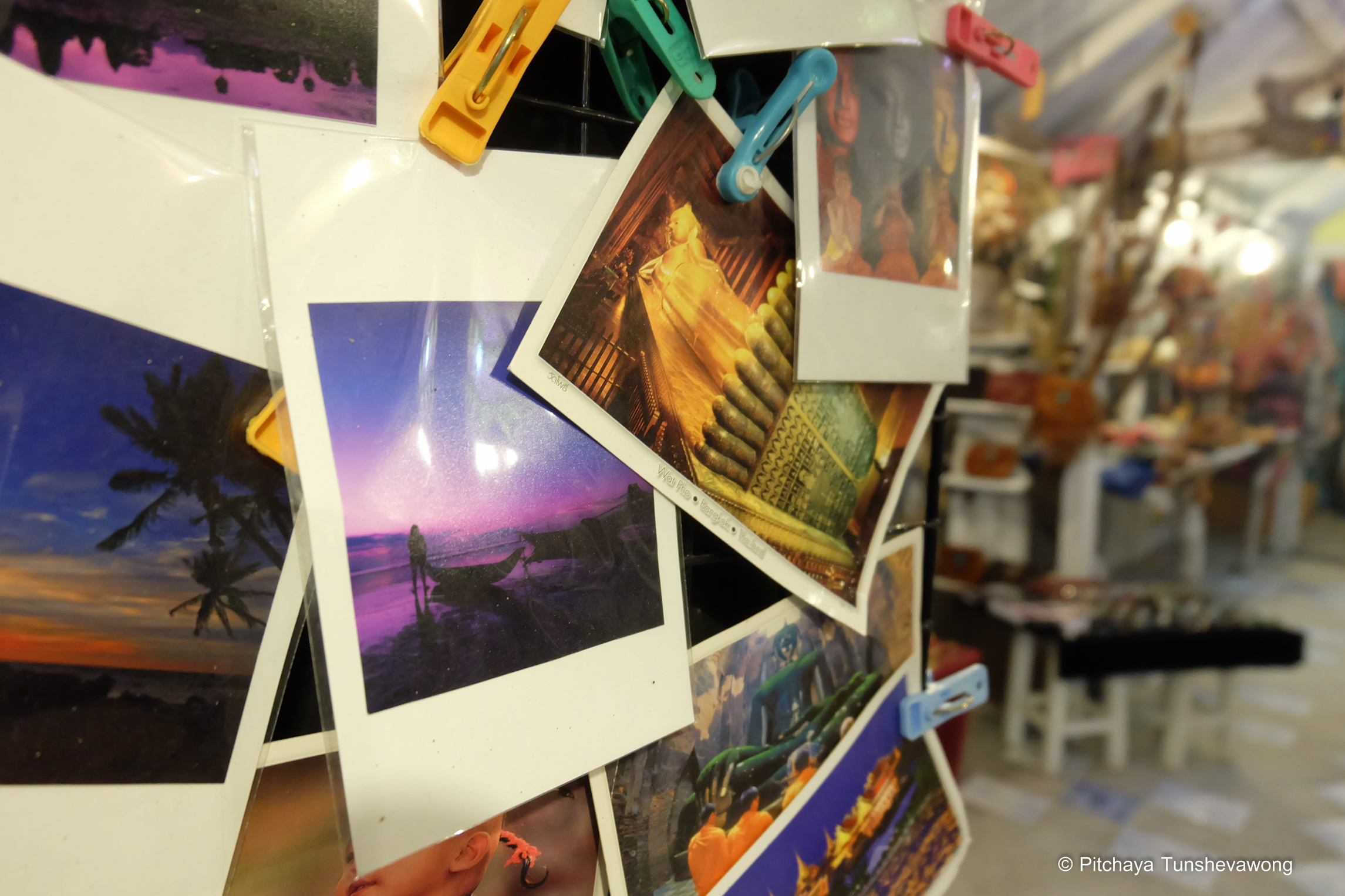 Postcards of many places in Thailand at Namaste shop