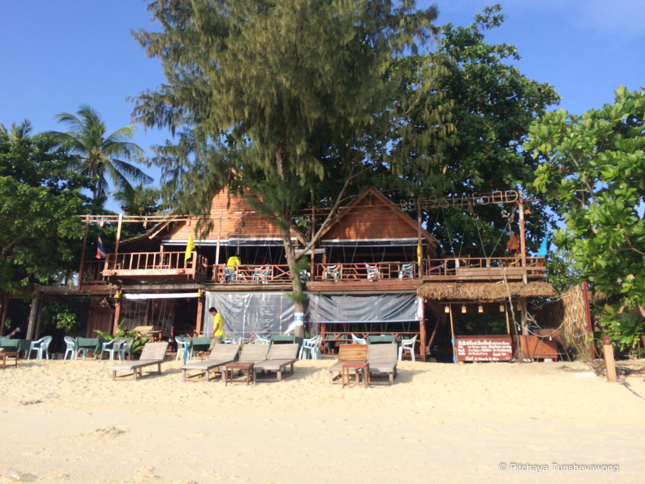Zanom Sunrise Resort from the beach in the morning